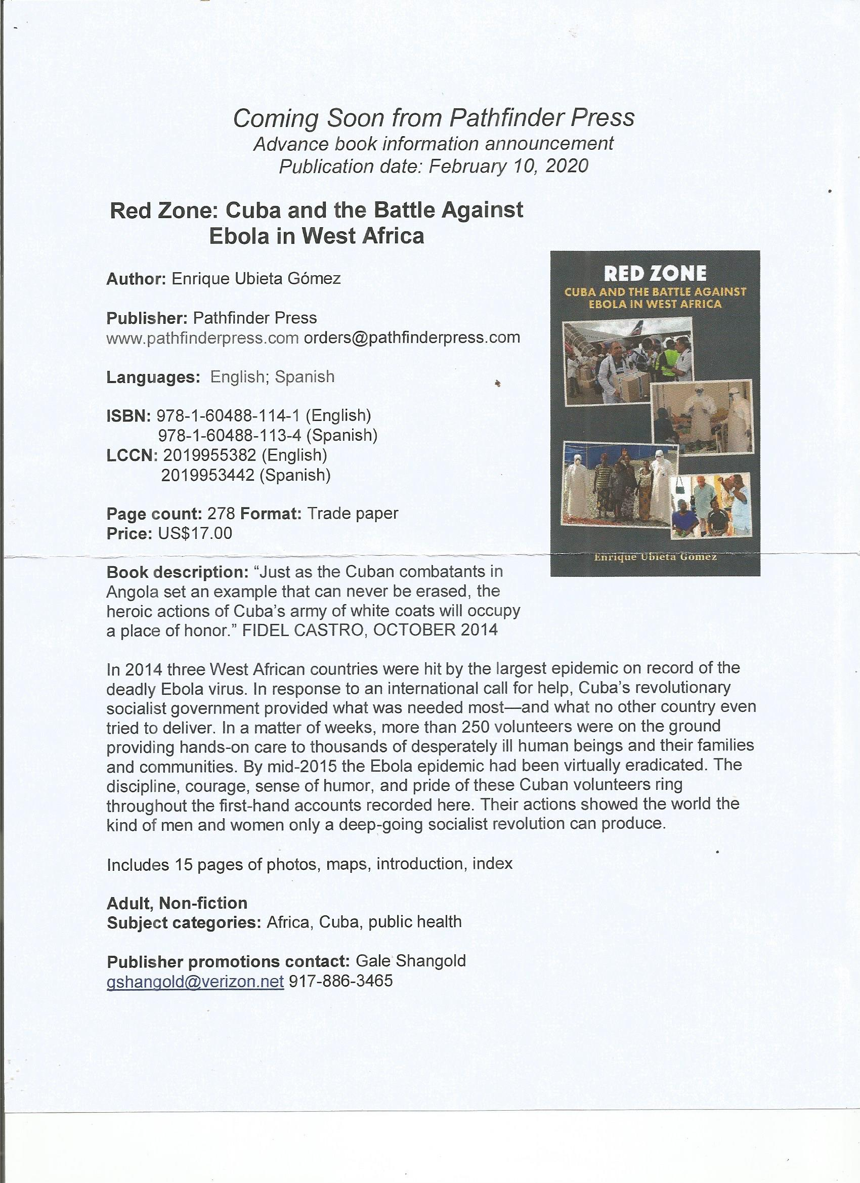 Book Review: Red Zone: Cuba and the Battle Against Ebola in West Africa