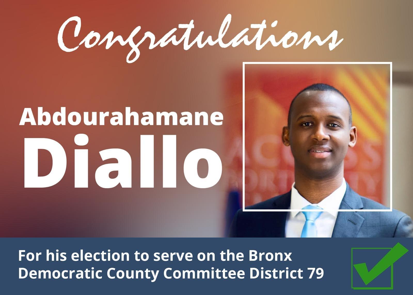 Abdourahamane Diallo élu membre du comité du Parti des Démocrates district 79 dans le Bronx