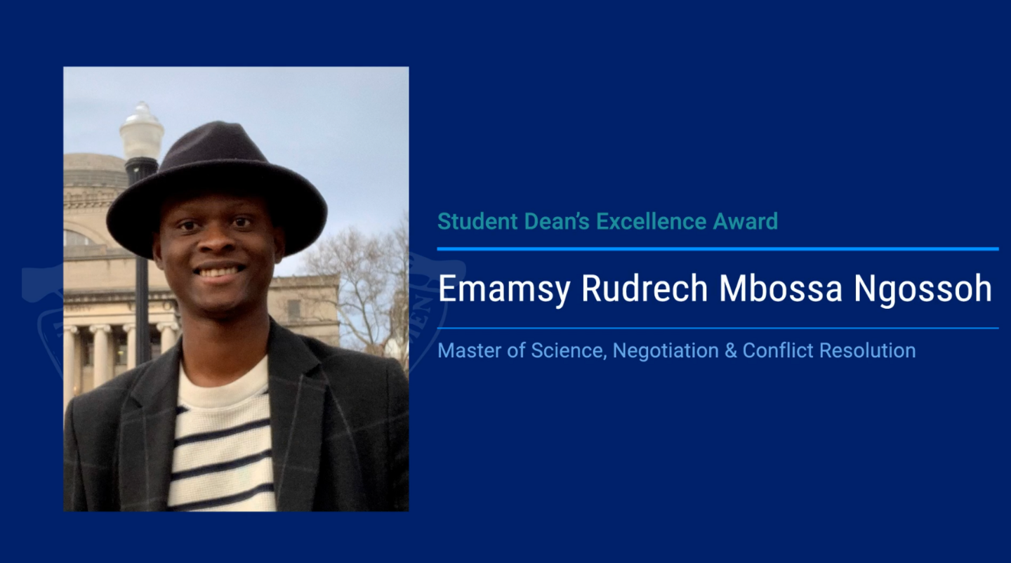 Student's Life: Emamsy Mbossa, from Congo to the honor roll of the prestigious Columbia University