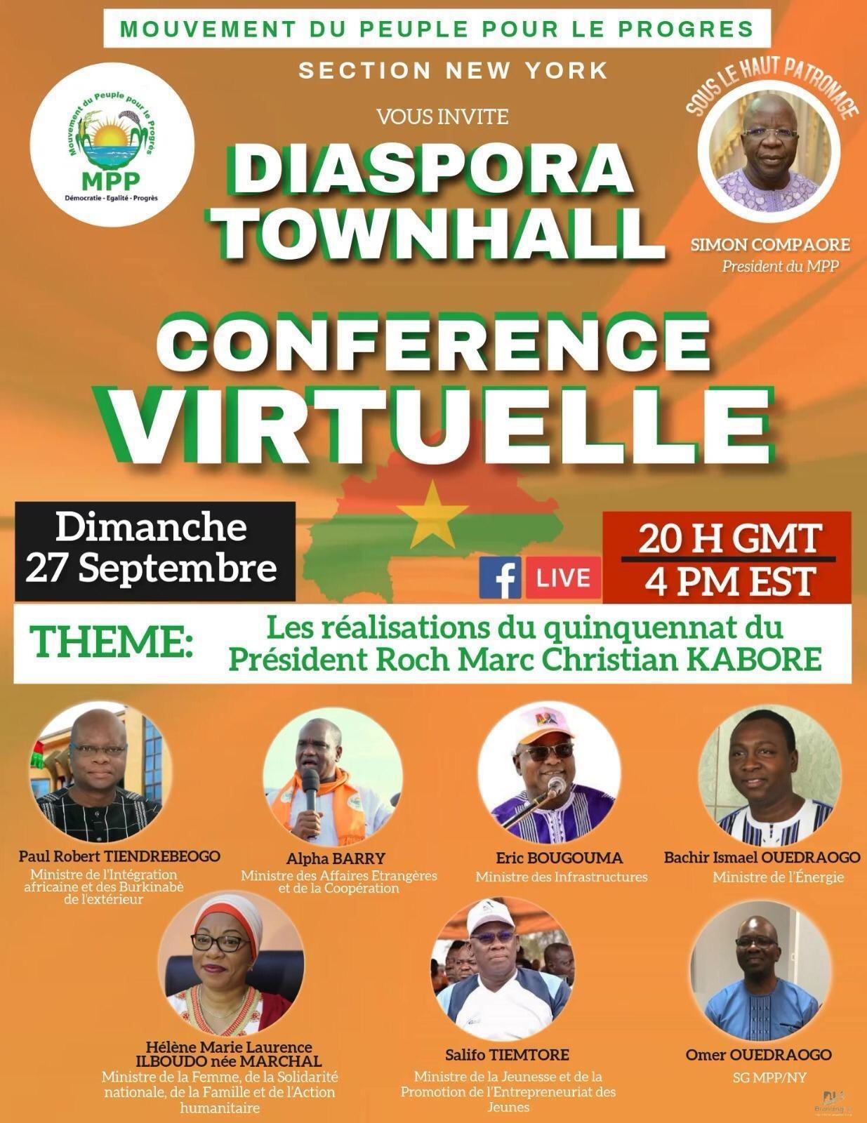 New York: Le MPP invite la diaspora Burkinabè à une conférence virtuelle sur les réalisations du quinquennat du Président Kaboré
