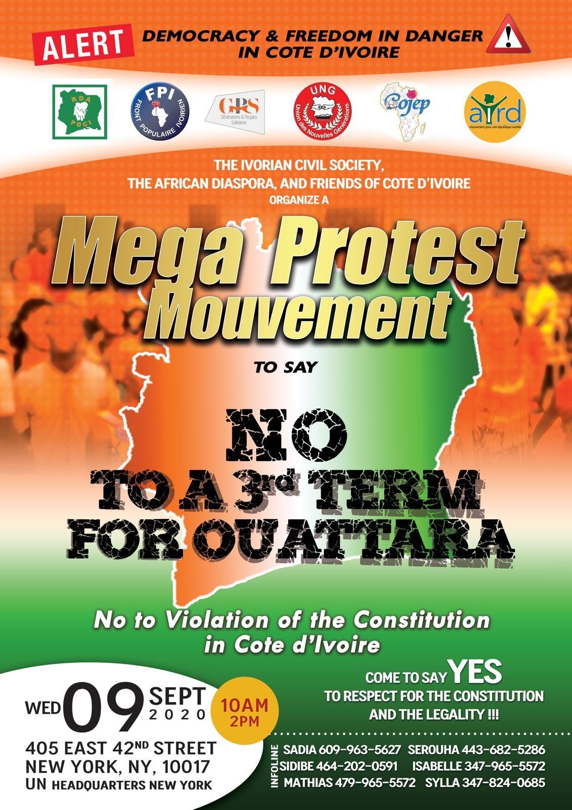 New York : Grand meeting devant le siège des Nations – Unies pour dire non à un troisième mandat du président Ouattara